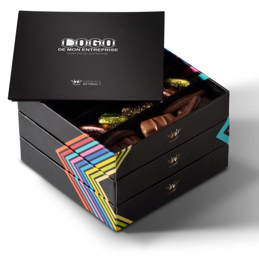 chocolats assortis boite plateau avec message