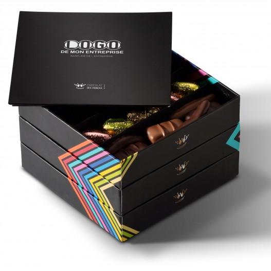 chocolats assortis boite 3 plateaux avec message